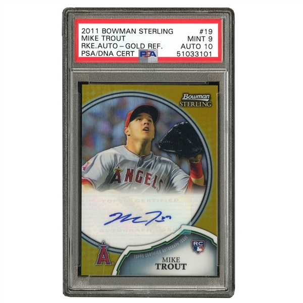 2011 BOWMAN STERLING ROOKIE AUTOGRAPHS #19 MIKE TROUT GOLD REFRACTOR - PSA MINT 9 - PSA/DNA GEM MINT 10 AUTO
