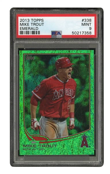 "2013 TOPPS #338 MIKE TROUT EMERALD ""2012 AL ROY"" - PSA MINT 9"