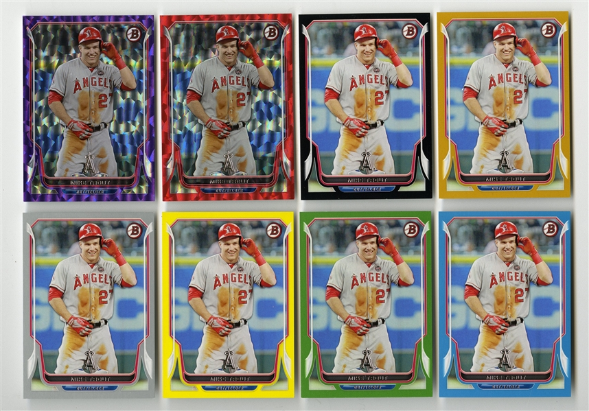 2014 BOWMAN #168 MIKE TROUT LIMITED EDITION GROUP OF (8) COLOR VARIATIONS