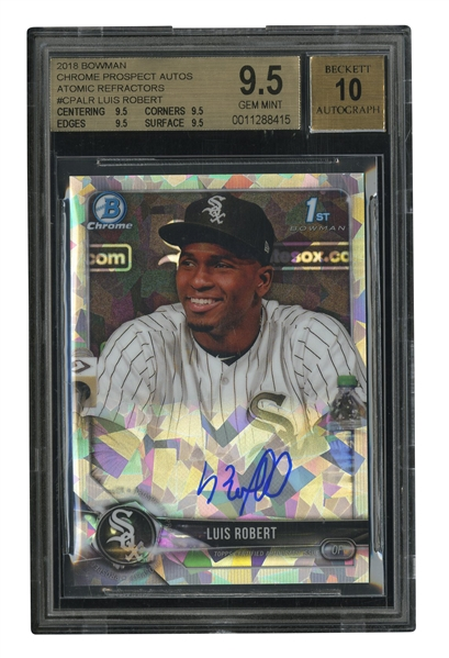 2018 BOWMAN CHROME PROSPECT AUTOS ATOMIC REFRACTORS #CPALR LUIS ROBERT ROOKIE CARD - BGS GEM MINT 9.5