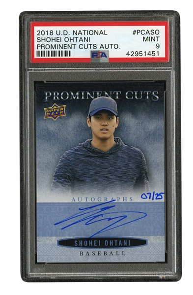 2018 UPPER DECK NATIONAL PROMINENT CUTS SHOHEI OHTANI ON CARD AUTOGRAPH 7/25 - PSA MINT 9