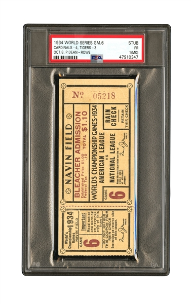OCTOBER 8, 1934 WORLD SERIES (DETROIT TIGERS - ST. LOUIS CARDINALS) GAME 6 TICKET STUB - PSA PR 1 (MK)