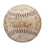 1929 NEW YORK YANKEES TEAM-SIGNED BASEBALL WITH RUTH, GEHRIG AND HUGGINS - PSA/DNA