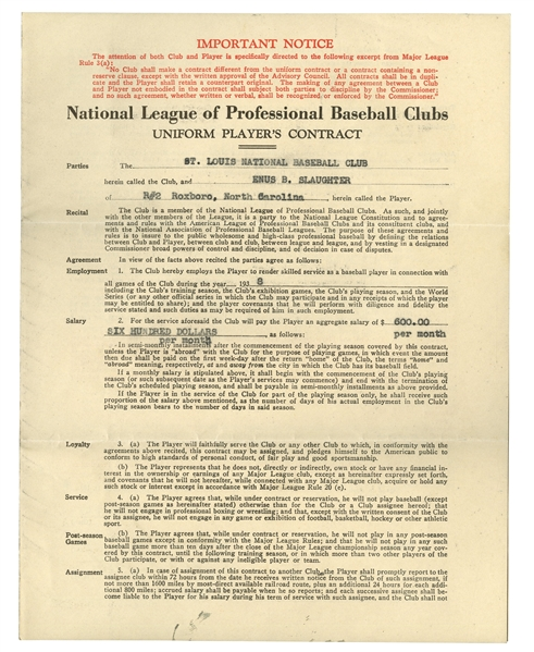 1938 ENOS SLAUGHTER SIGNED ROOKIE CONTRACT (ENOS SLAUGHTER COLLECTION) (SLAUGHTER FAMILY LETTER OF PROVENANCE & BECKETT LOA)