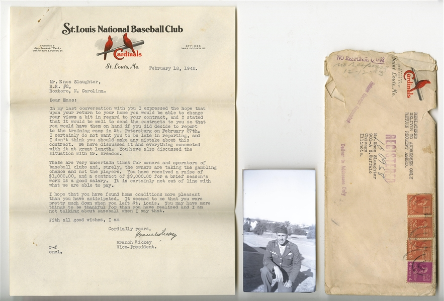 1942 BRANCH RICKEY WRITTEN AND SIGNED WARTIME LETTER WITH GREAT CONTRACT CONTENT TO ENOS SLAUGHTER - BECKETT LOA