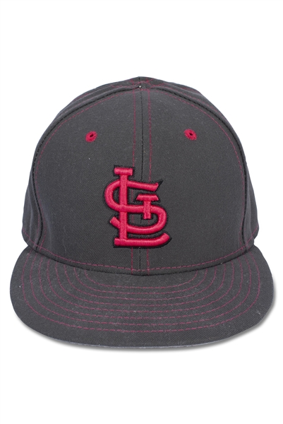 5/8/2016 YADIER MOLINA ST LOUIS CARDINALS GAME USED MOTHERS DAY CAP (MLB HOLOGRAM)