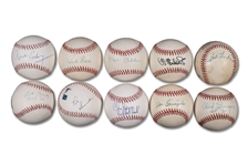 GROUP OF (10) SPORTSCASTERS LEGENDS SINGLE SIGNED BASEBALLS INCLUDING MEL ALLEN, CURT GOWDY, AL MICHAELS AND PAT SUMMERALL