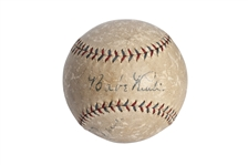 INCRDIBLE 1927 BABE RUTH & LOU GEHRIG DUAL-SIGNED OAL (BANCROFT) REACH BASEBALL (JSA LOA)