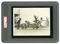 1931 LOU GEHRIG ORIGINAL SWEEPING HORIZONTAL ACTION PHOTOGRAPH - (PSA/DNA TYPE I)