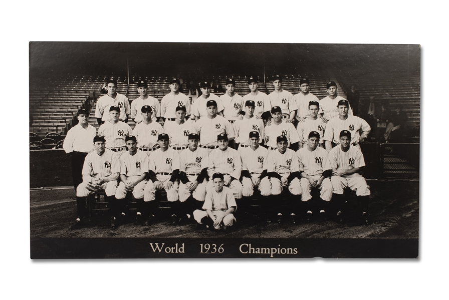 1936 NEW YORK YANKEES WORLD CHAMPIONS LARGE-FORMAT TEAM PHOTOGRAPH WITH LOU GEHRIG AND JOE DIMAGGIO (ROOKIE) - ORIGINATING FROM YANKEE STADIUM