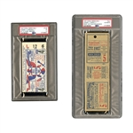 1937 WORLD SERIES (YANKEES OVER GIANTS) GAME 5 FULL TICKET - PSA AUTHENTIC AND 1943 WORLD SERIES (YANKEES OVER CARDINALS) GAME 4 TICKET STUB - PSA FR 1.5