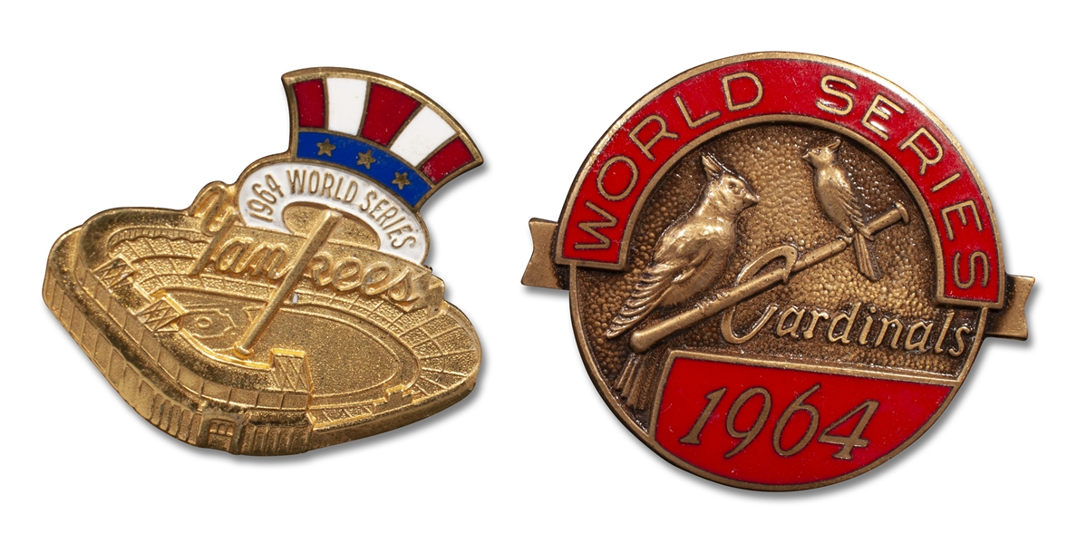 1964 PAIR OF WORLD SERIES PRESS PINS - ONE YANKEES AND ONE CARDINALS