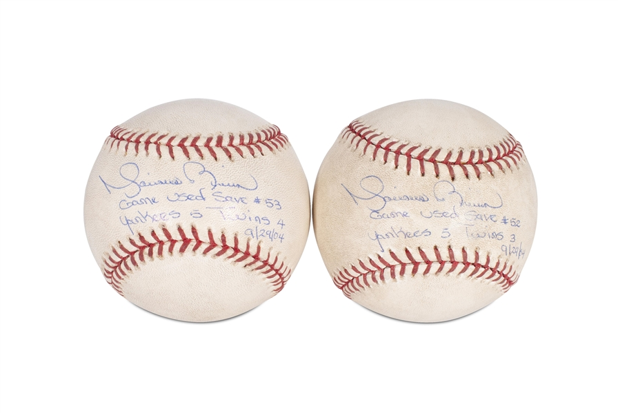 (2) 9/29/2004 MARIANO RIVERA NEW YORK YANKEES GAME USED AUTOGRAPHED AND INSCRIBED SAVE BALLS - #52 & #53 (BECKETT LOAS)