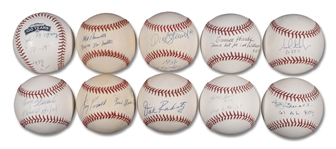 GROUP OF (10) BOSTON RED SOX LEGENDS SINGLE SIGNED BASEBALLS INCLUDING JIMMY PIERSALL, TRACY STALLARD AND MEL PARNELL