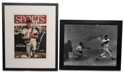 1955 TED WILLIAMS SIGNED SPORTS ILLUSTRATED COVER AND WILLIAMS SIGNED 11X14 PHOTOGRAPH (JSA LOA)