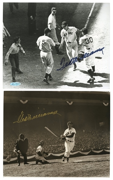 PAIR OF TED WILLIAMS SIGNED 8X10 BLACK AND WHITE PHOTOGRAPHS (PSA.DNA LOA AND BECKETT LOA)