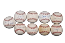 1967 RED SOX AL CHAMPS GROUP OF (9) SINGLE SIGNED BASEBALLS INCLUDING KEN HARRELSON & JIM LONBORG