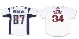 PAIR OF RED SOX & PATRIOTS HEROES SIGNED JERSEYS - ROB GRONKOWSKI AND DAVID ORTIZ (BECKETT/FANATICS/MLB COAS)