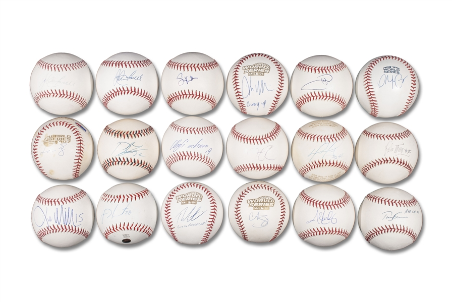 RED SOX WORLD SERIES CHAMPIONS GROUP OF (18) SINGLE SIGNED BASEBALLS FROM THE 2004, 2007, 2013 AND 2018 SQUADS INCL. PEDRO MARTINEZ, MANNY RAMIREZ, KURT SCHILLING & DAVID ORTIZ