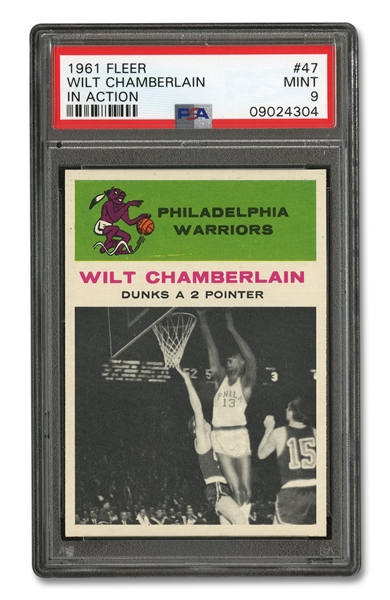 1961 FLEER #47 WILT CHAMBERLAIN IN ACTION - PSA MINT 9