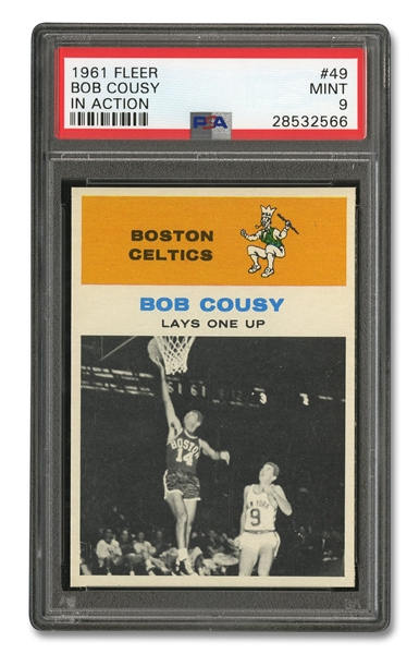1961 FLEER #49 BOB COUSY IN ACTION - PSA MINT 9