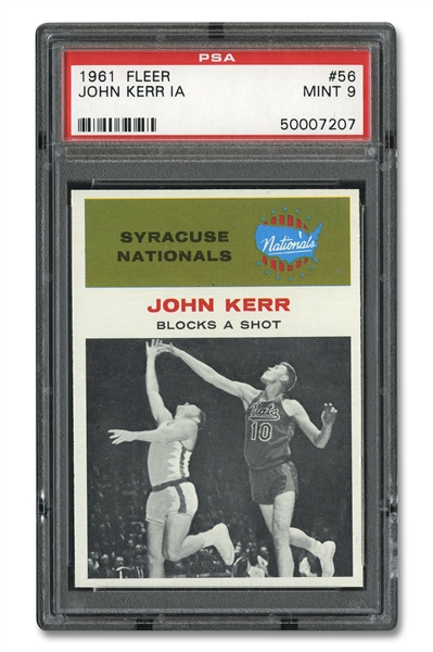1961 FLEER #56 JOHN KERR IN ACTION - PSA MINT 9