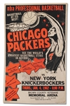 1961-62 CHICAGO PACKERS VS. NY KNICKS BASKETBALL GAME ADVERTISING BROADSIDE IN GREEN BAY, WISCONSIN