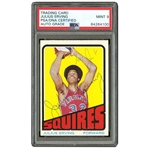 1972 DUAL SIGNED TOPPS #195 JULIUS ERVING (AUTO ON FRONT AND REVERSE) - PSA/DNA MINT 9