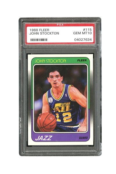 1988 FLEER #115 JOHN STOCKTON - PSA GEM MINT 10