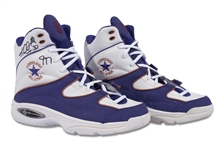 KARL MALONE DUAL SIGNED CONVERSE REACT II BASKETBALL SHOES - GAME ISSUED