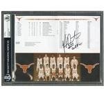 DECEMBER 2, 2006 KEVIN DURANT SIGNED TEXAS LONGHORNS TEAM ROSTER PAGE FROM THE BASKETBALL HALL OF FAME CHALLENGE PROGRAM (BECKETT ENCAPSULATED) (TIM GALLAGHER COLLECTION)