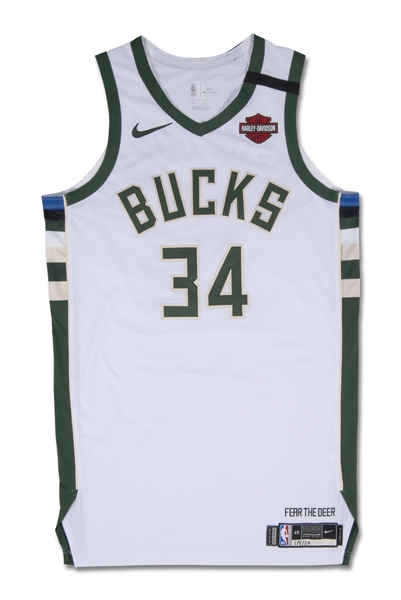 1/4/2020 GIANNIS ANTETOKOUNMPO MILWAUKEE BUCKS GAME WORN HOME JERSEY (RESOLUTION PHOTOMATCH LOA) (MVP & DPOY SEASON)