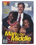 "MICHAEL JORDAN, SCOTTIE PIPPEN, & PHIL JACKSON AUTOGRAPHED ""MAN IN THE MIDDLE"" NOV. 11, 1991 COVER OF SPORTS ILLUSTRATED MAGAZINE (BECKETT ENCAPSULATED)"