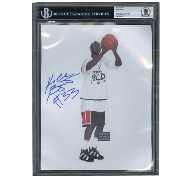 "KOBE BRYANT AUTOGRAPHED 8.5"" X 11"" PHOTO, ABCD CAMP, HIGH SCHOOL ERA SIGNATURE #33 (BECKETT 10 AUTO)"
