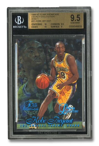 1996-97 FLAIR SHOWCASE LEGACY COLLECTION ROW 1 #31 KOBE BRYANT - BGS GEM MINT 9.5