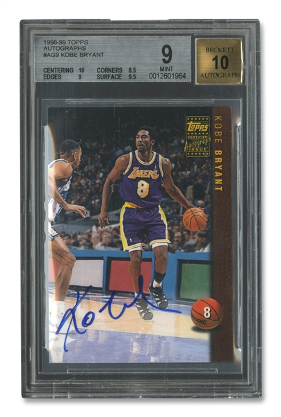 1998-99 TOPPS CERTIFIED AUTOGRAPH #AG9 KOBE BRYANT - BGS 9 AUTO. 10