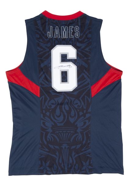 2008 LEBRON JAMES AUTOGRAPHED TEAM USA JERSEY (TORONTO EQUIPMENT MANAGER PROVENANCE) - BECKETT LOA