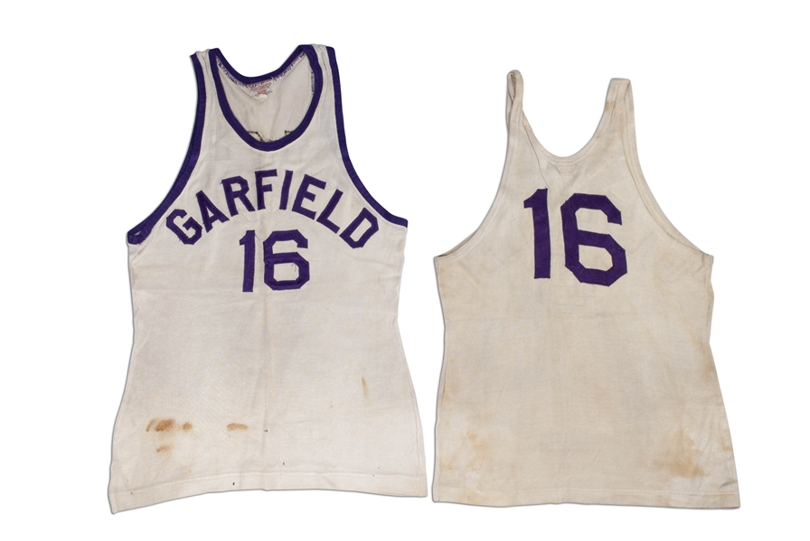 CLYDE LOVELLETTES C. 1946-48 GARFIELD HIGH SCHOOL (IND.) PAIR OF GAME WORN HOME JERSEYS - ONE W/ BLOOD STAINS! (LOVELLETTE COLLECTION)