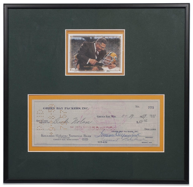 1959 VINCE LOMBARDI SIGNED GREEN BAY PACKERS CHECK - JSA LOA