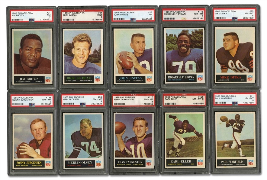 1965 PHILADELPHIA FOOTBALL NEAR SET (173/198) - MOSTLY ALL PSA NM-MT 8 AND HIGHER WITH ONLY (5) PSA NM 7