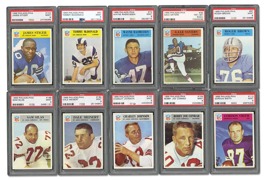 1966 PHILADELPHIA FOOTBALL LOT OF (15/198) W/(13) PSA MINT 9 and (2) PSA NM-MT 8 EXAMPLES