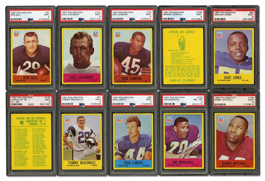 1967 PHILADELPHIA FOOTBALL STARTER SET (46/198) - ALL GRADED PSA 8 OR HIGHER