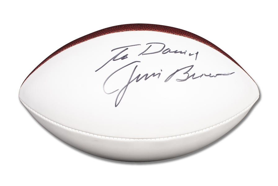 "JIM BROWN AUTOGRAPHED AND INSCRIBED, ""TO DAVID"" FOOTBALL - BECKETT"