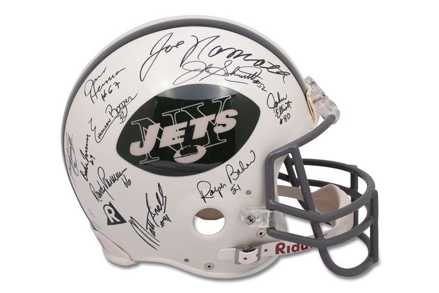 1968 NEW YORK JETS SUPER BOWL III CHAMPIONS TEAM SIGNED HELMET - BECKETT
