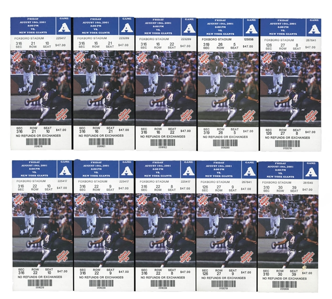 LOT OF (10) FULL TICKETS FROM TOM BRADYS FIRST SIGNIFICANT NFL GAME - 8/10/2001 PATRIOTS VS. GIANTS
