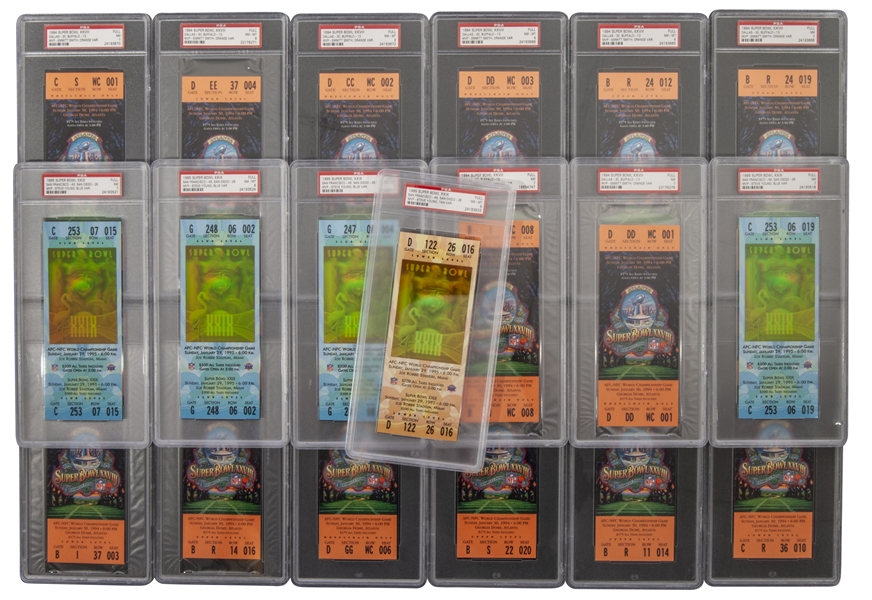 LOT OF (19) SUPER BOWL TICKETS INCL. (14) 1994 SB XXVIII & (5) 1995 SB XXIX - ALL GRADED PSA NM 7 OR HIGHER
