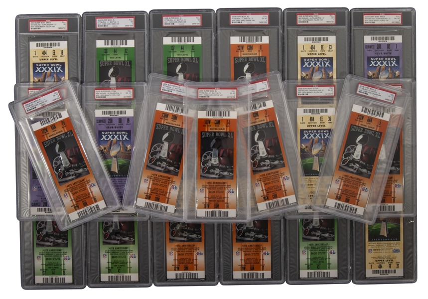 LOT OF (23) SUPER BOWL TICKETS INCL. (9) 2005 SB XXXIX & (14) 2006 SB XL - ALL GRADED PSA EX-MT 6 OR HIGHER