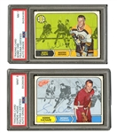 1968 SIGNED O-PEE-CHEE #2 BOBBY ORR PSA/DNA NM 7 AND #29 GORDIE HOWE PSA/DNA MINT 9