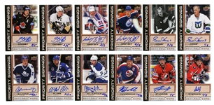 2011 GROUP OF (21) AUTOGRAPHED UPPER DECK FALL EXPO PRIORITY SIGNINGS CARDS INCL. GRETZKY, HOWE, OVECHKIN AND CROSBY