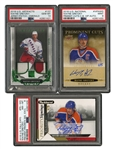 2018 TRIO OF AUTOGRAPH AND PATCH WAYNE GRETZKY CARDS INCL. U.D. ARTIFACTS #137 PATCH - PSA GEM MINT 10